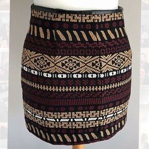 Zara Aztec Print Skirt with Leather Lining